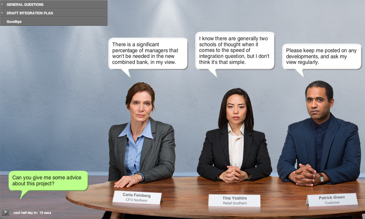 image of business people round table with speech bubbles above them
